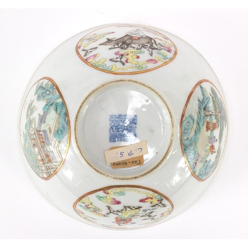 3 - Chinese porcelain bowl hand painted in the famille rose palette with panels of figures, birds and fl...