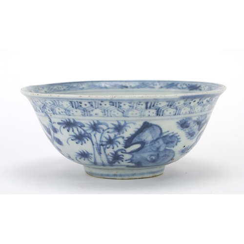 8 - Chinese blue and white porcelain bowl hand painted with a continuous landscape, 15cm in diameter