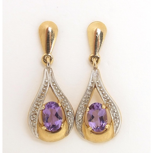 1702 - Pair of 9ct gold amethyst and diamond drop earrings, 2.5cm high, 2.4g