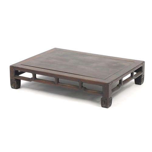81 - Chinese carved hardwood low table, possibly Hongmu, 15cm H x 69cm W x 51.5cm D