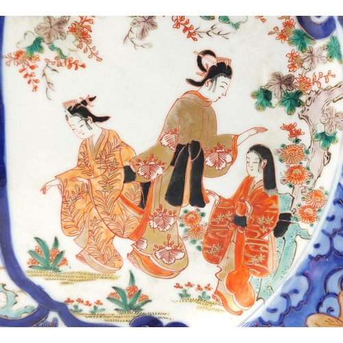 34 - Japanese Imari porcelain charger hand painted with figures, birds and flowers, 41cm in diameter