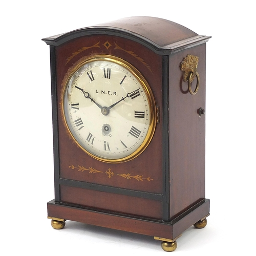 261 - 19th century railway interest inlaid mahogany bracket clock with gilt ring turned handles and painte...