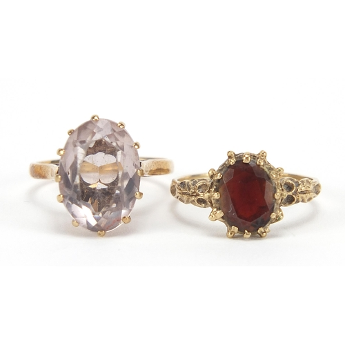 1700 - Two 9ct gold rings set with garnet and pink quartz, sizes M and O, 6.0g