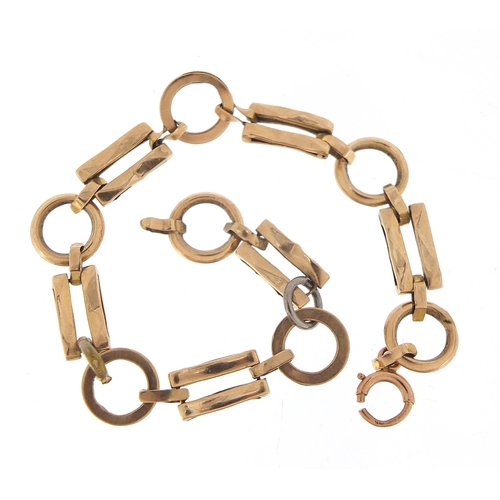 1703 - 9ct gold loop and gate link bracelet, 16cm in length, 5.3g