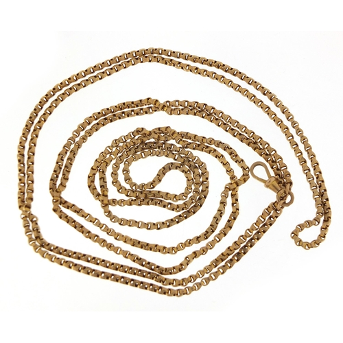 1670 - 9ct gold Longuard chain, 78cm in length when doubled, 33.3g