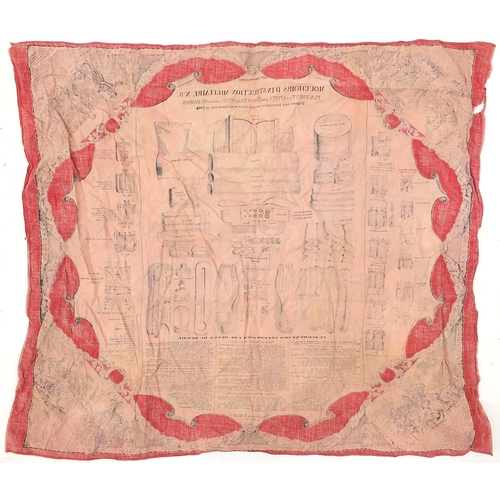 1087 - Military interest French 1884 cotton instruction handkerchief -Mouchoirs d'Instruction Militaire no ...