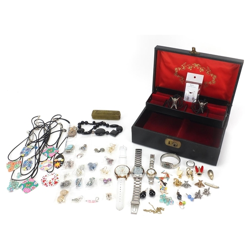 1088 - Costume jewellery arranged in a box, some silver including enamelled insect brooches, monkey pendant...