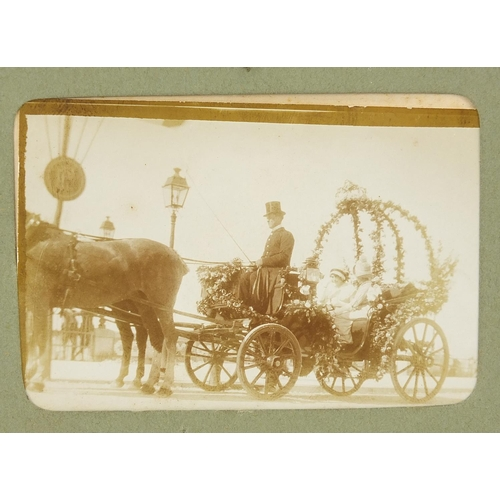 1392 - Small Edwardian photo album depicting family scenes and photographs of naval interest, old steam eng...