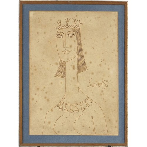 443 - Francis Newton Souza - Head and shoulders portrait of a nude female wearing a crown, ink, mounted, f...