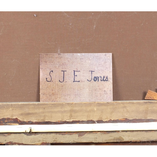 445 - Manner of Samuel John Egbert Jones - Horse and cart at water, 19th century oil on canvas, mounted an...