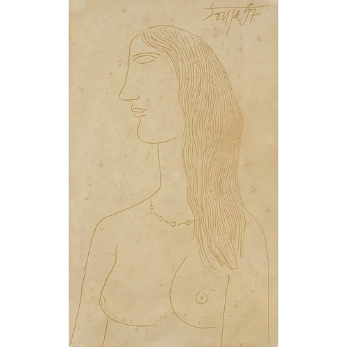 442 - Francis Newton Souza - Head and shoulders portrait of a nude female, ink, mounted, framed and glazed...