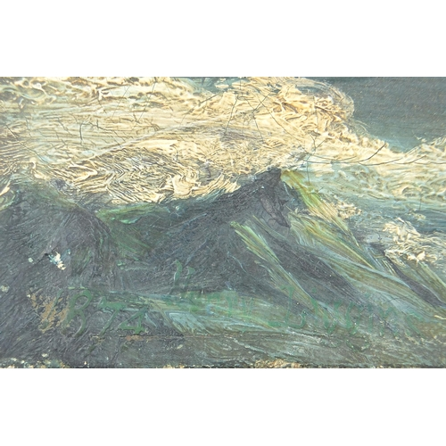 512 - Shipwreck before mountains, Artic, oil on canvas, indistinctly monogrammed, unframed, 33cm x 23cm