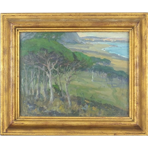 514 - Edward Fristrom - Continental costal scene, oil, indistinctly inscribed verso possibly Palleu Bay?, ...