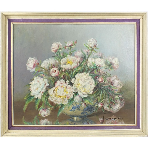 444 - Marion L Broom - Still life flowers in a bowl, oil on canvas, mounted and framed, 74.5cm x 62cm excl...