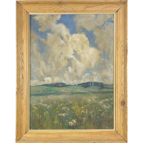 458 - Rural landscape with trees and flowers, oil on canvas, inscribed verso Fred Milner, mounted and fram...