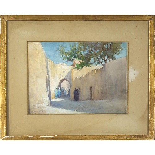 446 - Russell Dowson - Middle Eastern street scene with figures, watercolour, mounted, framed and glazed, ...
