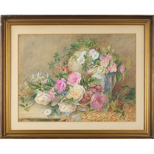 459 - Still life flowers, late 19th century watercolour, signed C Monleath 1880, mounted, framed and glaze...