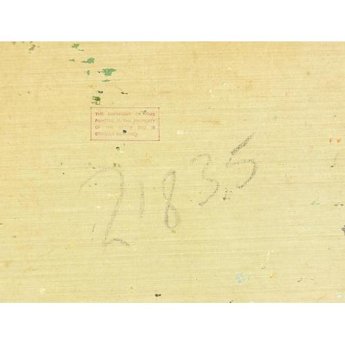 452 - Busy Parisian street scene, oil on canvas, signed M Clover, unframed, 58.5cm x 49.5cm