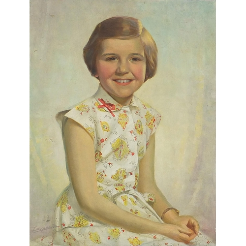 451 - Portrait of a young girl, 20th century oil on canvas, indistinctly signed, unframed, 61cm x 45.5cm