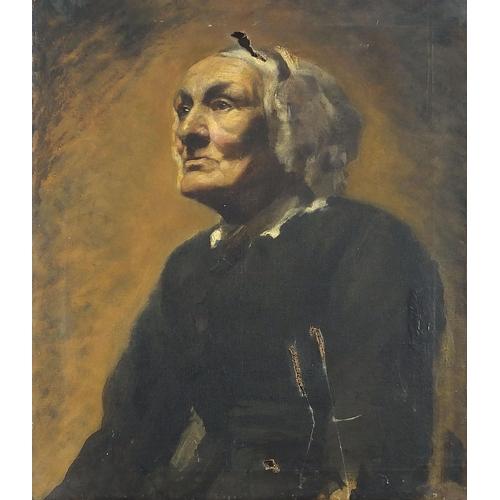 453 - Portrait of an elderly lady wearing a bonnet, 19th century Dutch school oil on canvas, unframed, 61c...