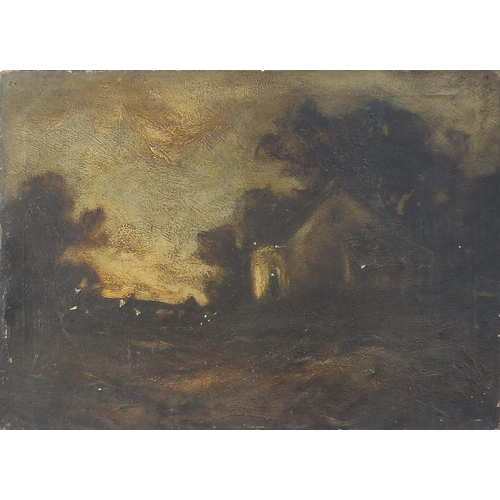 450 - Cottage before a landscape and trees, 19th century oil on canvas, unframed, 56cm x 40.5cm