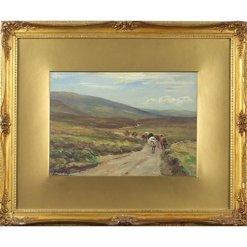 454 - Patrick Downie - Moorland road, autumn, Thankerton, Scottish oil, details verso, mounted, framed and...