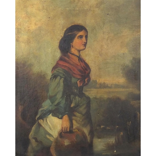 480 - Female holding a water pot before a landscape, 19th century oil on canvas, mounted and framed, 59cm ...