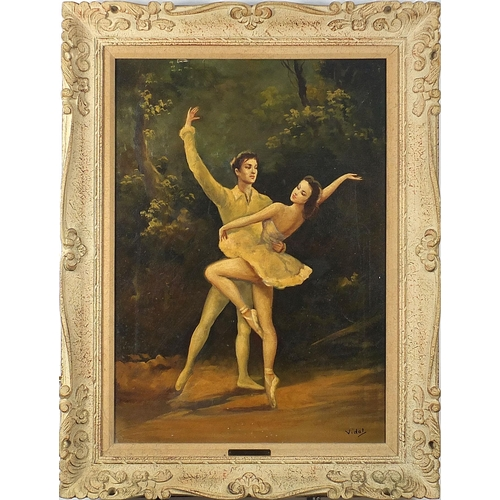476 - Vidal - Ballet dancers, 20th century oil, applied plaque to the mount, indistinct label verso, mount...