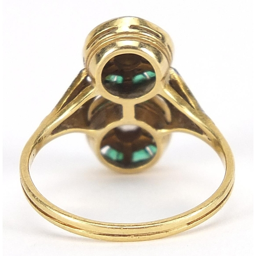 1671 - Art Deco unmarked gold diamond and emerald ring, size L, 3.7g