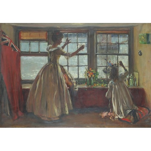 473 - Archibald Standish Hartrick - Interior scene with mother and child before boats and water, Pre-Rapha...