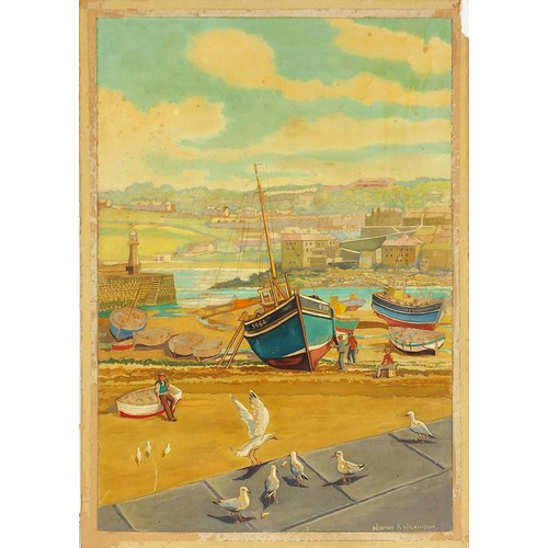 441 - Norman K Wilkinson - St Ives Harbour, Cornwall, mixed media on card, inscribed in ink poster colours...