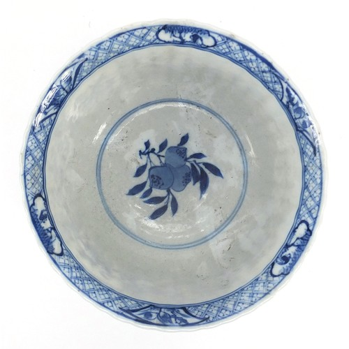 2 - Chinese blue and white porcelain bowl, hand painted with figures holding vases and birds amongst flo...