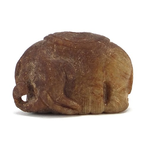 45 - Chinese russet jade carving of a elephant, 4.5cm in length