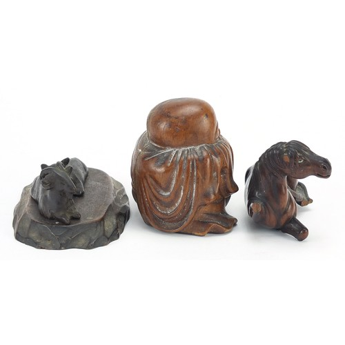 54 - Chinese and Japanese wooden and metalware including a good wood okimono of a horse and a Chinese bro...