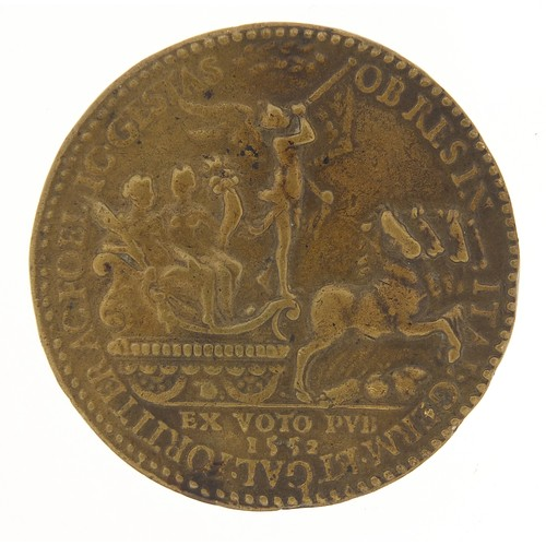 239 - Antique French medal showing bust of Henry II, dated 1552, 5cm in diameter