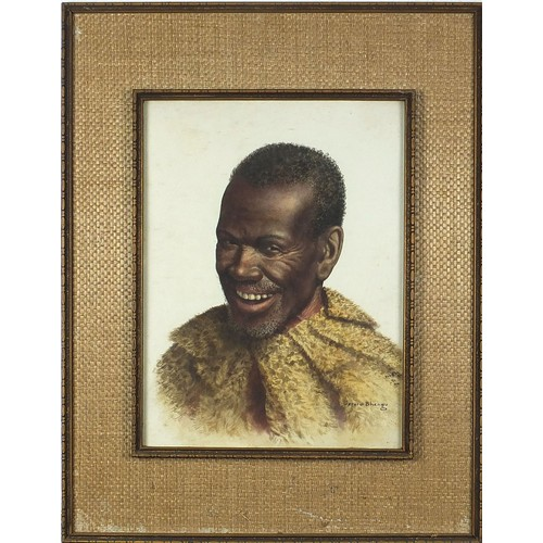 515 - Gerard Bhengu - Head and shoulders portrait of a gentleman wearing fur, South African watercolour, m...