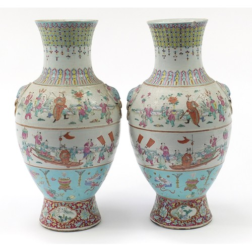 1 - Large pair of Chinese porcelain vases with animalia ring turned handles, each hand painted in the fa...