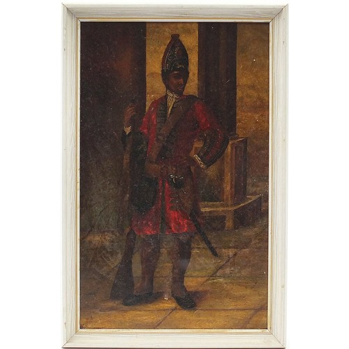 465 - Full length portrait of an African soldier wearing 18th century military uniform, early 19th century...