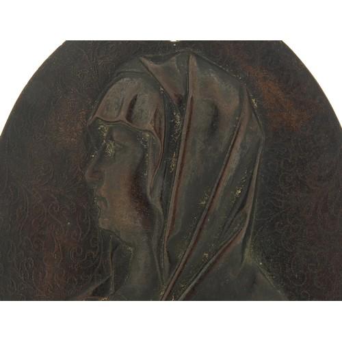 235 - 19th century oval patinated bronze plaque of Madonna, 12cm x 9.5cm
