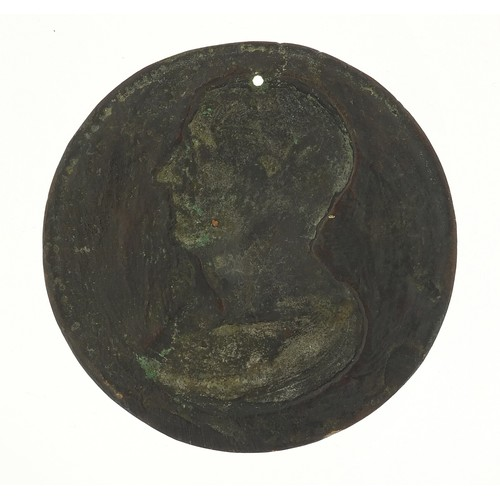 236 - Antique bronze plaque with bust of Cicero, 10cm in diameter