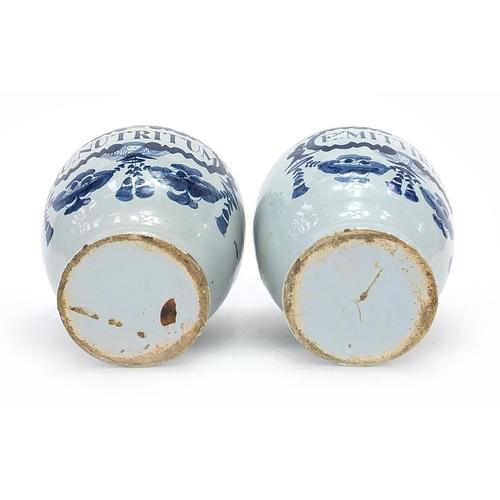 43 - Two 18th century Delft blue and white tin glazed drug jars, 19cm high