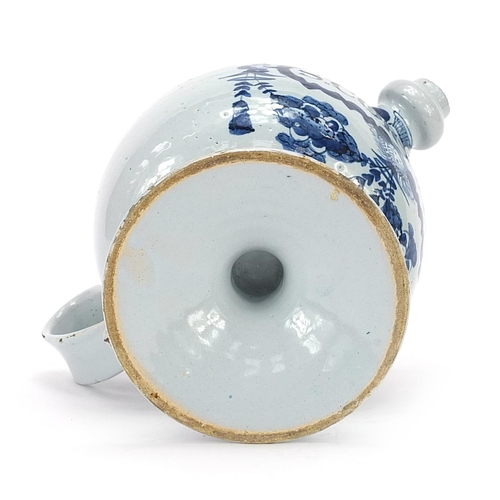 42 - 18th century Delft blue and white tin glazed drug jar with handle and spout, 18cm high