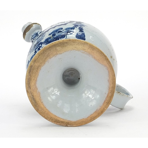 41 - 18th century Delft blue and white tin glazed drug jar with handle and spout, 18cm high