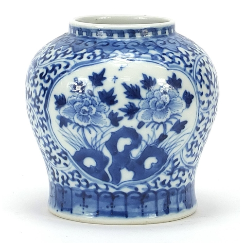 23 - Chinese blue and white porcelain vase hand painted with flowers, six figure character marks to the b...