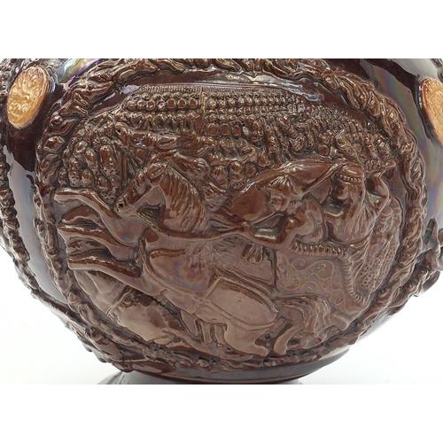 37 - Large Edward Bingham, Castle Hedingham brown glazed pottery Essex jug with associated paperwork, 35c...