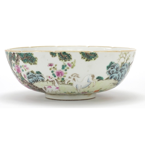 48 - Chinese porcelain famille rose bowl with goats, red six figure character marks to the base, 22cm in ...