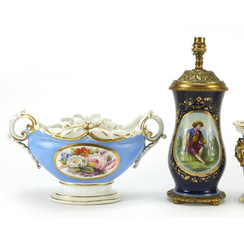 40 - French porcelain to include table lamp hand painted  with figures and flowers and three planters han...