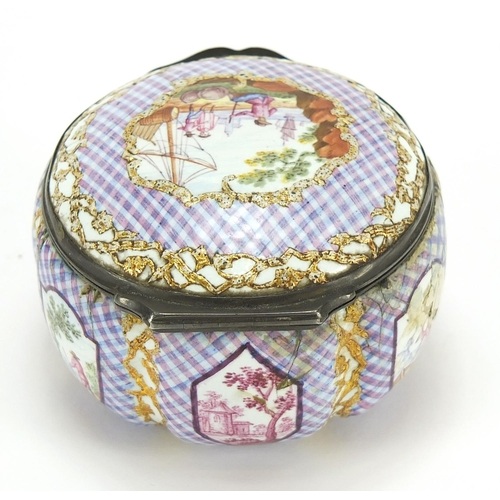 18 - 18th century enamel patch box with hinged lid and silver mounts, probably Staffordshire, 6cm in diam...