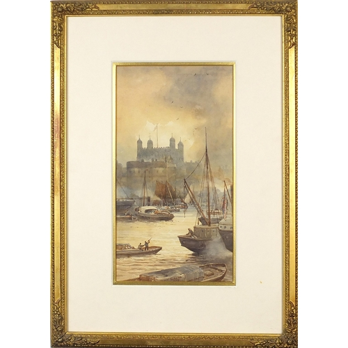 26 - Alfred Edward Parkman 1908- Boats on the River Thames, early 20th century watercolour, mounted, fram...