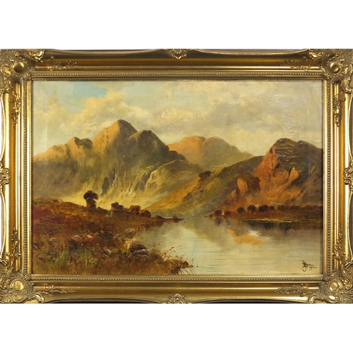 115 - J A Boel 1904 - Highland loch scene, early 20th century Scottish oil on canvas, mounted and framed, ...